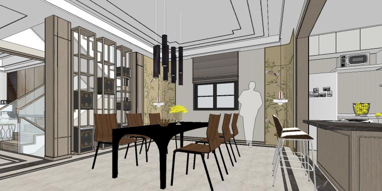 家装组件现代新中式别墅SU模型