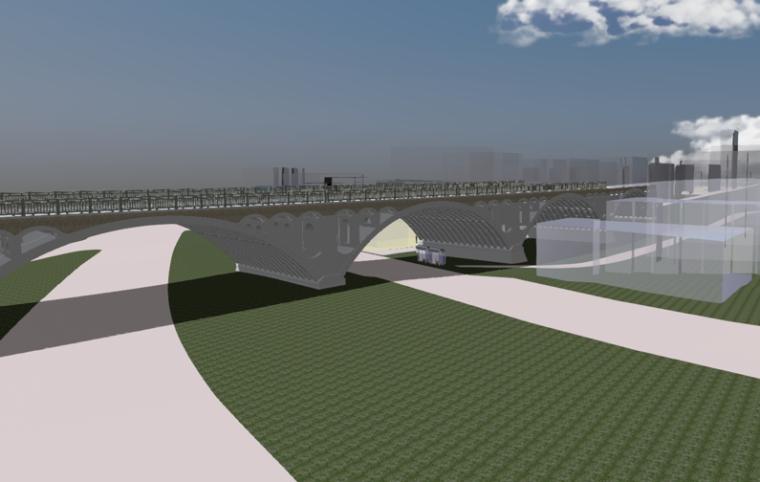 场地与桥梁结合渲染效果图