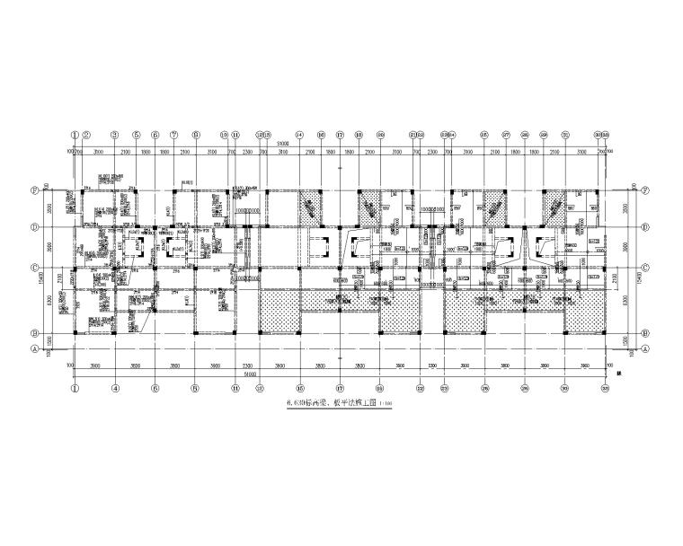 [青岛]3层异形柱框架结构别墅群建筑结构图