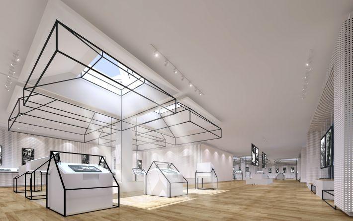 公共展示空间特装SU现代创意展览空间SU模型