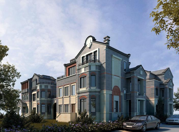 西塘保利越新中式合院别墅建筑模型设计