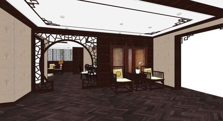 中式风格样板间客餐厅空间SU模型设计