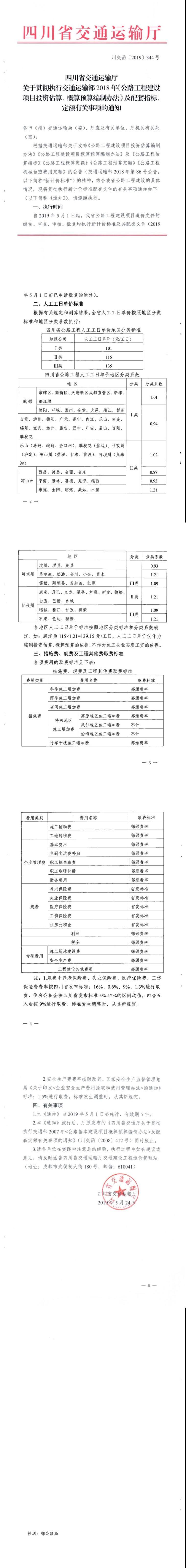 四川省公路工程建设项目补充定额