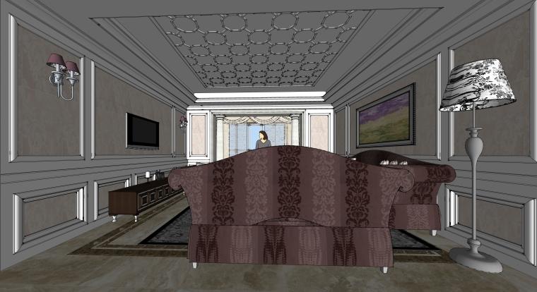室内装修客厅空间SU模型设计(6)