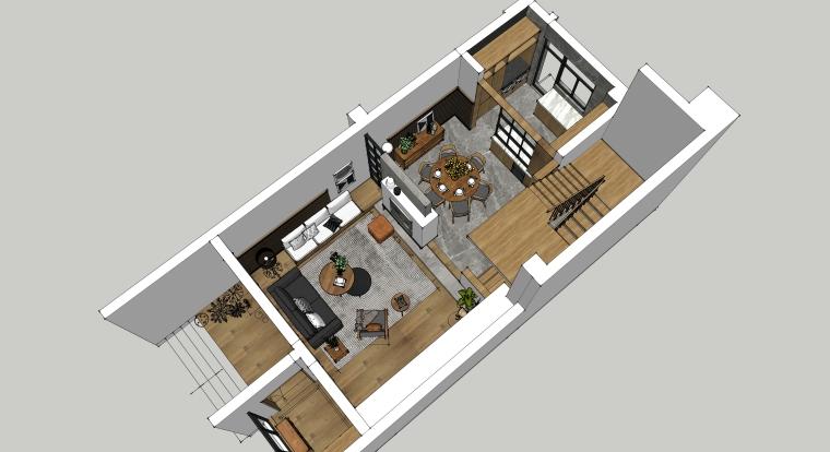 室内装修客厅空间SU模型设计(7)