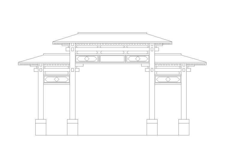 仿古典牌楼大门初步设计施工图