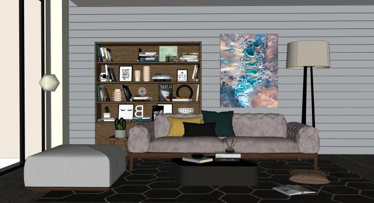 室内装修客厅空间SU模型设计(9)