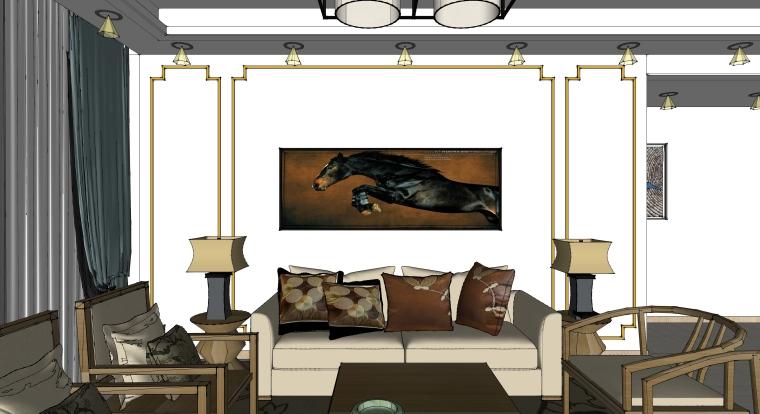 室内装修客厅空间SU模型设计(2)