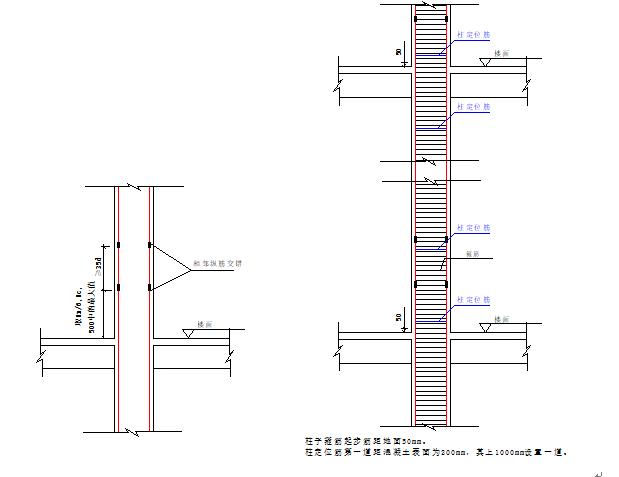 框架柱机械接头与定位钢筋