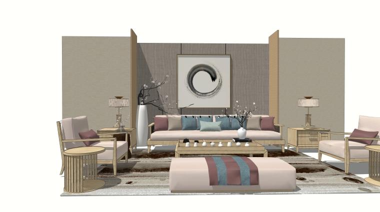 室内装修客厅空间SU模型设计(4)