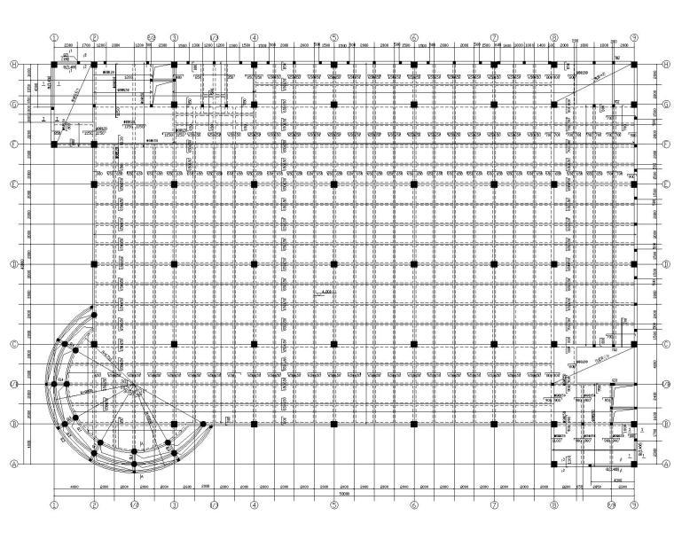 某三层大型超市混凝土结构施工图(CAD)