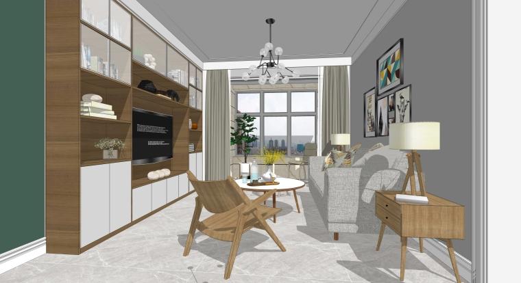 室内装修客厅空间SU模型设计(8)