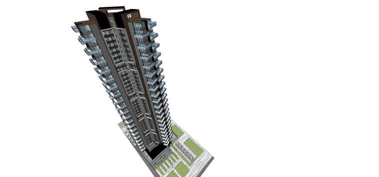 现代风格超高层住宅建筑模型 (4)
