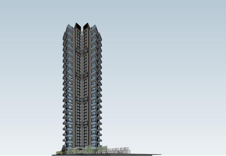 现代风格超高层住宅建筑模型