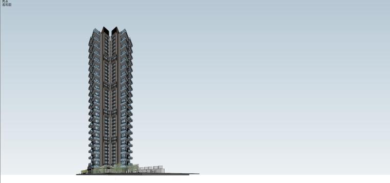 现代风格超高层住宅建筑模型 (3)