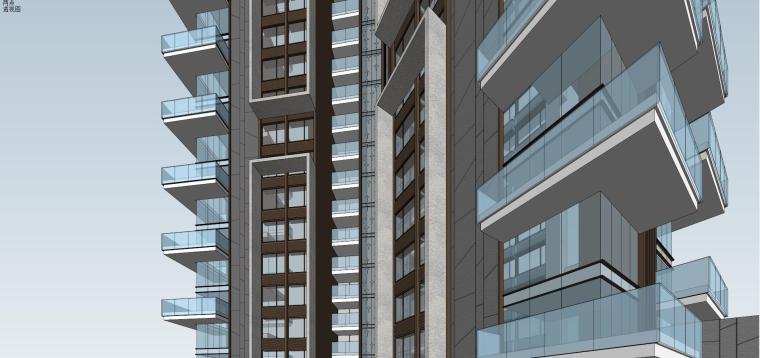 现代风格超高层住宅建筑模型 (1)