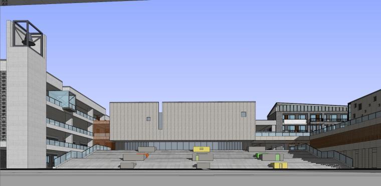新中式风格学校建筑模型设计