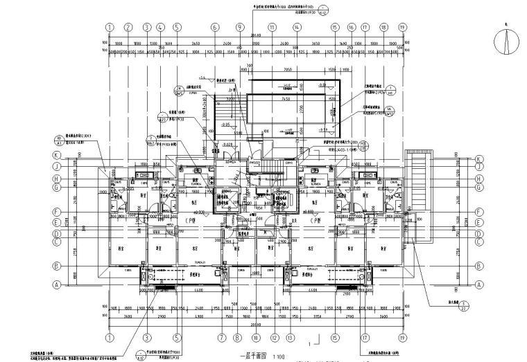 现代风安置房住宅建筑施工图(2019|4-7栋)-01 一层平面图