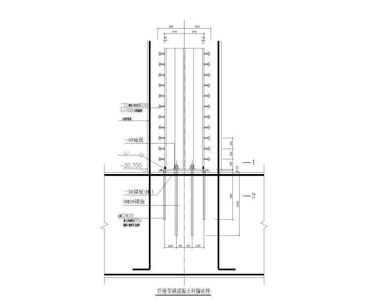 型钢混凝土柱脚大样图CAD