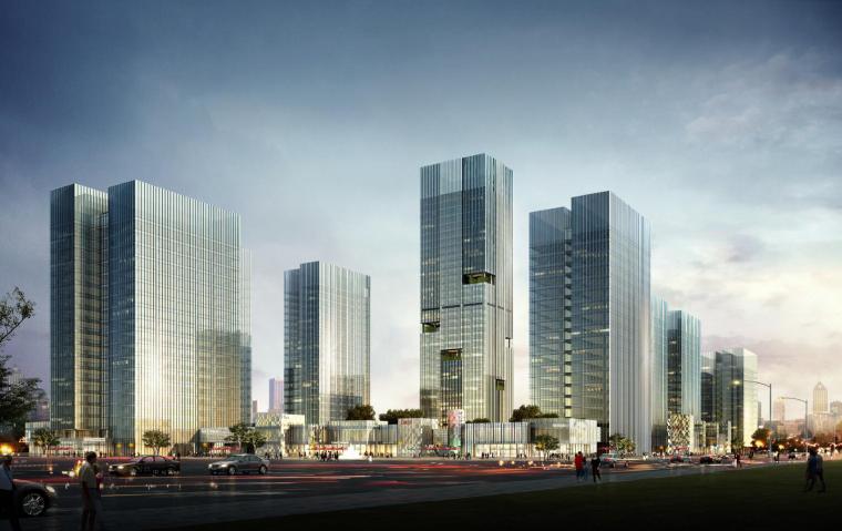 现代风格商务办公区建筑模型设计