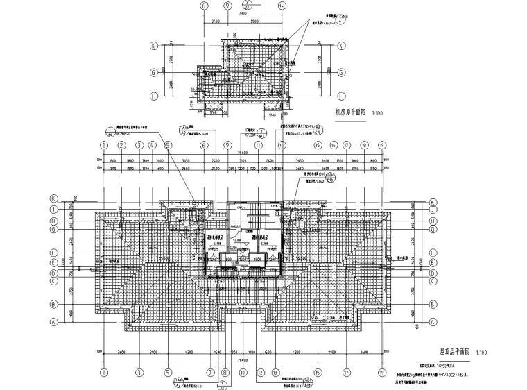 现代风安置房住宅建筑施工图(2019|4-7栋)-屋顶平面图