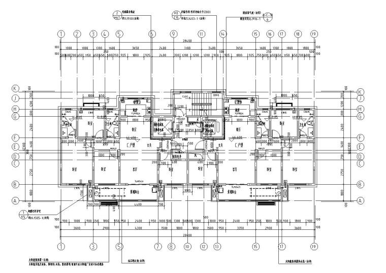 现代风安置房住宅建筑施工图(2019|4-7栋)-十七层平面图