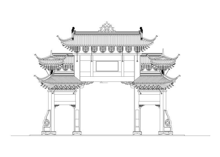 公园主入口牌坊建筑施工图设计