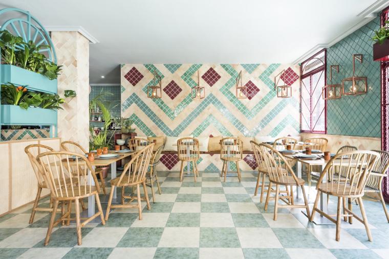西班牙地中海风情餐厅设计效果图+JPG平立面