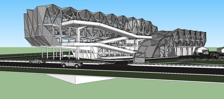现代风格停车楼建筑模型设计(2019年)