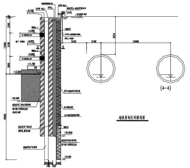 控制中心综合体基坑围护典型断面图