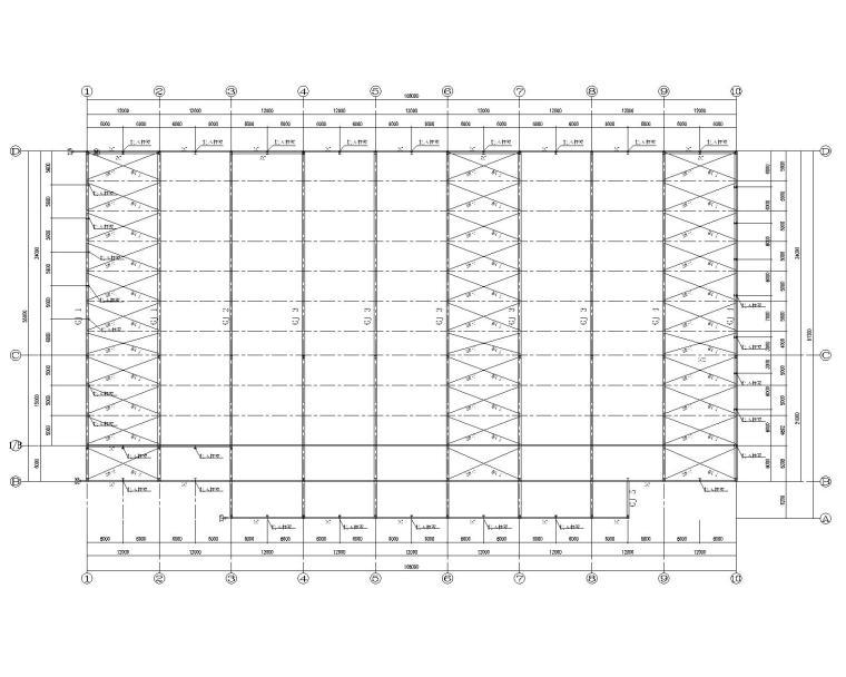 某34米多跨钢结构厂房结构施工图(CAD)