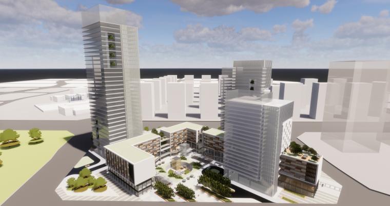 现代风格商业办公综合体建筑模型设计