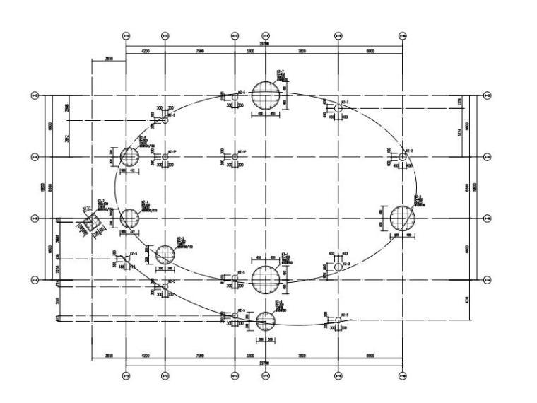 2层椭圆形校史陈列厅框架结构施工图2015