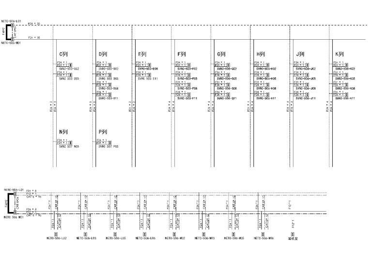 上海某金融广场机房施工图全套图纸_含机电