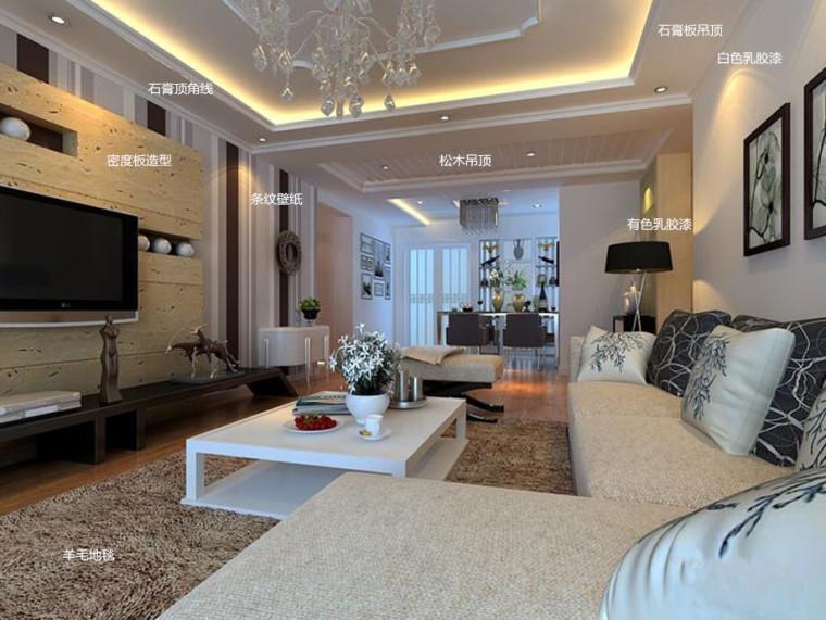 70张标注好材料的客厅装修设计效果图