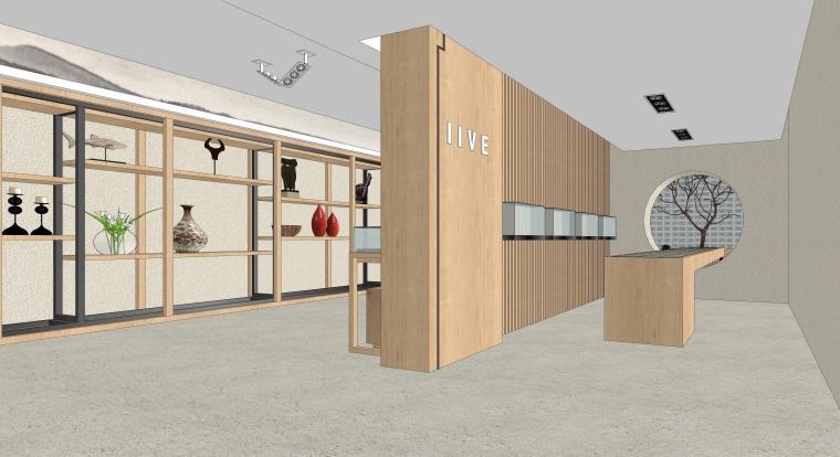 新中式风格珠宝展厅SU模型设计
