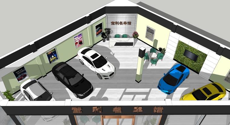 汽车销售店室内装修设计SU模型