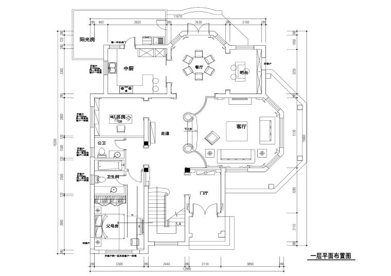 300平米歐式風格獨棟別墅裝修施工圖+效果圖
