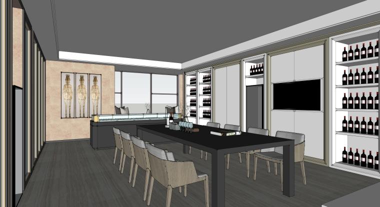 红酒会所兼办公室装修设计SU模型