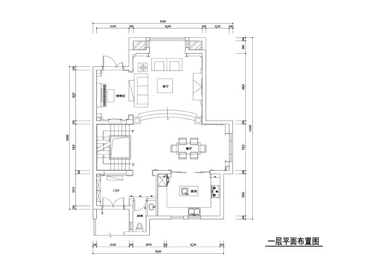 320平混搭风格联体别墅装修施工图+效果图
