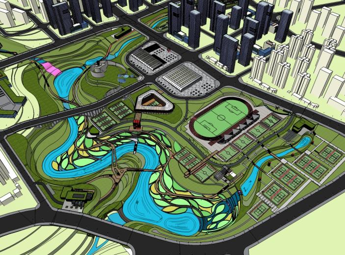 某大型体育公园建筑模型设计_附效果图