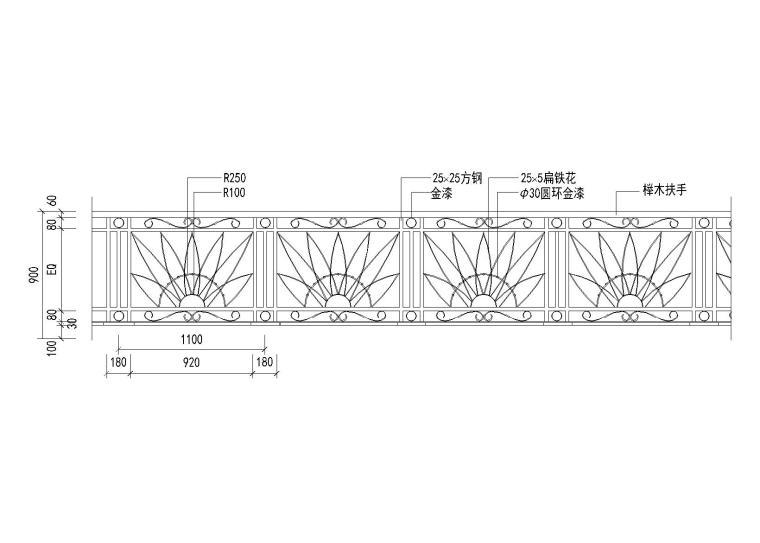 6种栏杆图块设计_CAD