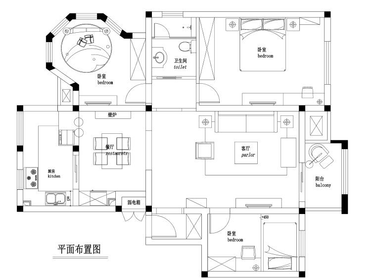 100㎡混搭风格三居室私人住宅装修施工图