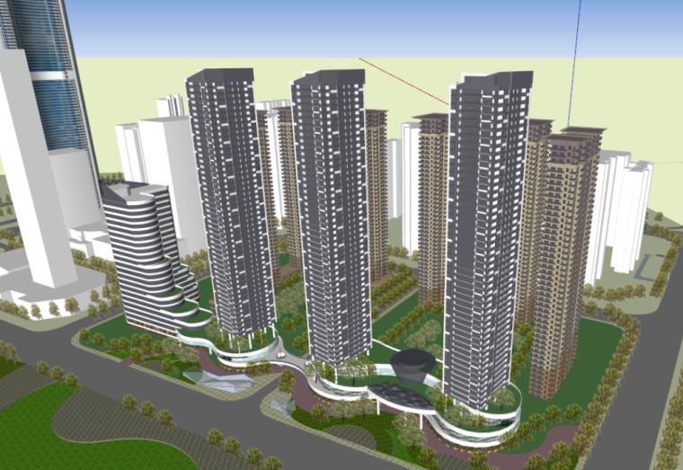 武汉绿地国际金融城滨江综合体建筑模型