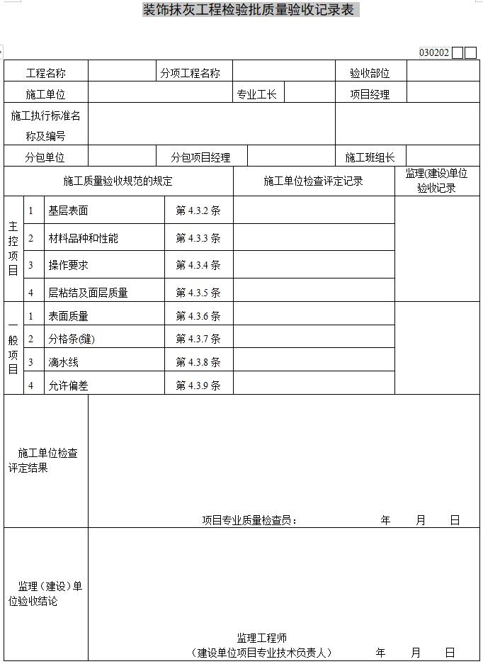 装饰抹灰工程检验批质量验收记录表