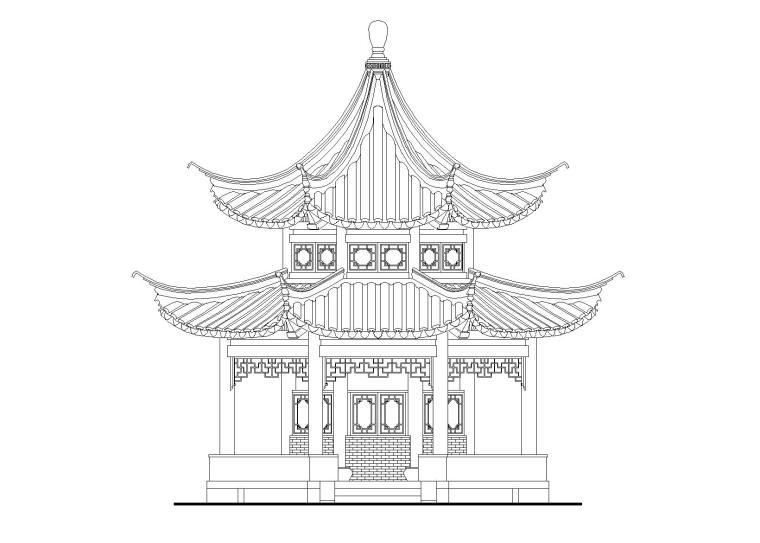十六柱八角重檐亭施工图设计_含节点详图