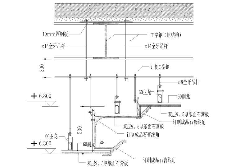 室内通用天花吊顶节点(材料拼接,龙骨等)
