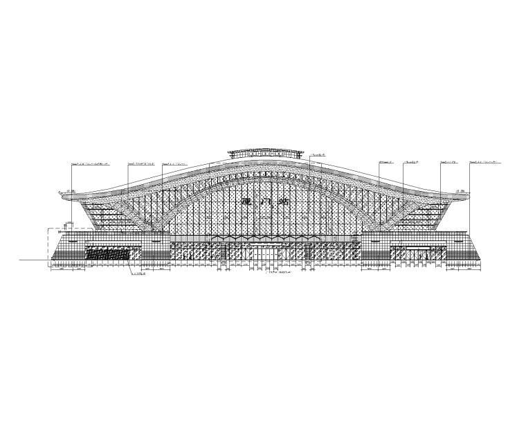 火车站站房幕墙施工图_玻璃铝板石材幕墙