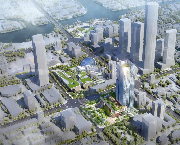 超高层综合体办公+酒店建筑模型设计