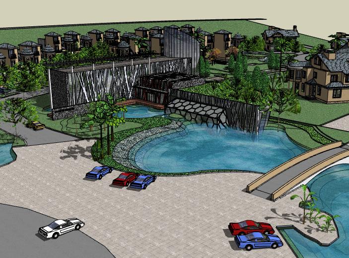 带水景别墅区建筑SU模型1